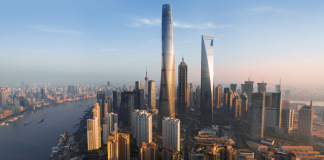 Shanghai Tower, China. Image Courtesy of GENSLER