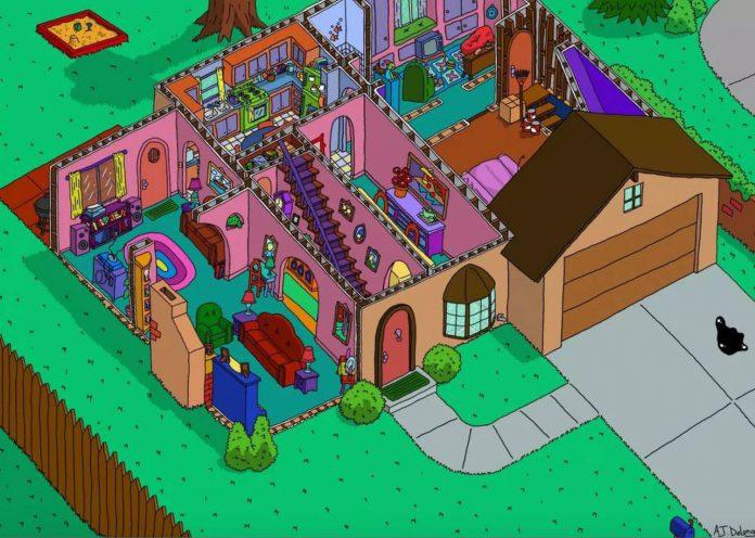 recriação casa dos simpson - ilustrador Andrew Delong